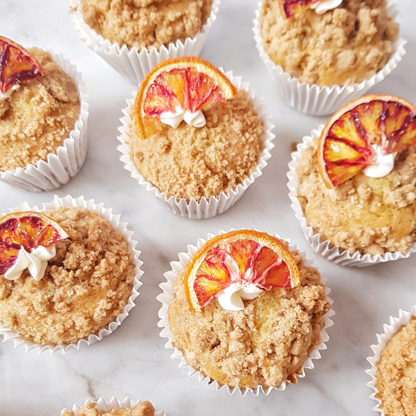 Vegan blood orange streusel