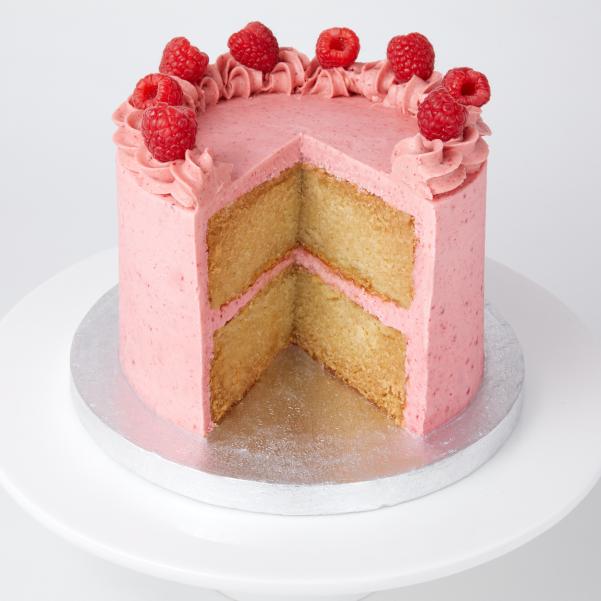 Cut open vegan berry cake