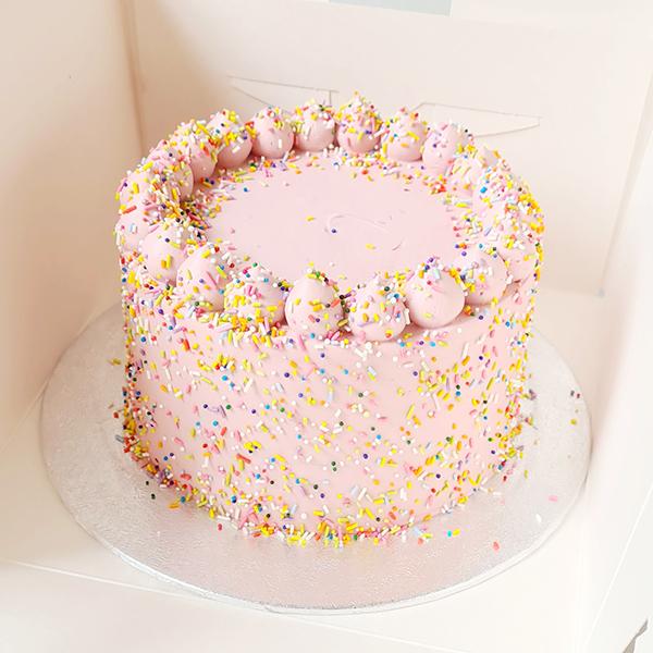 Raspberry Sprinkles Cake  |  from £40