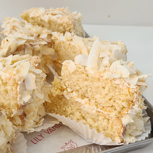 The softest, fluffiest sticky coconut cake