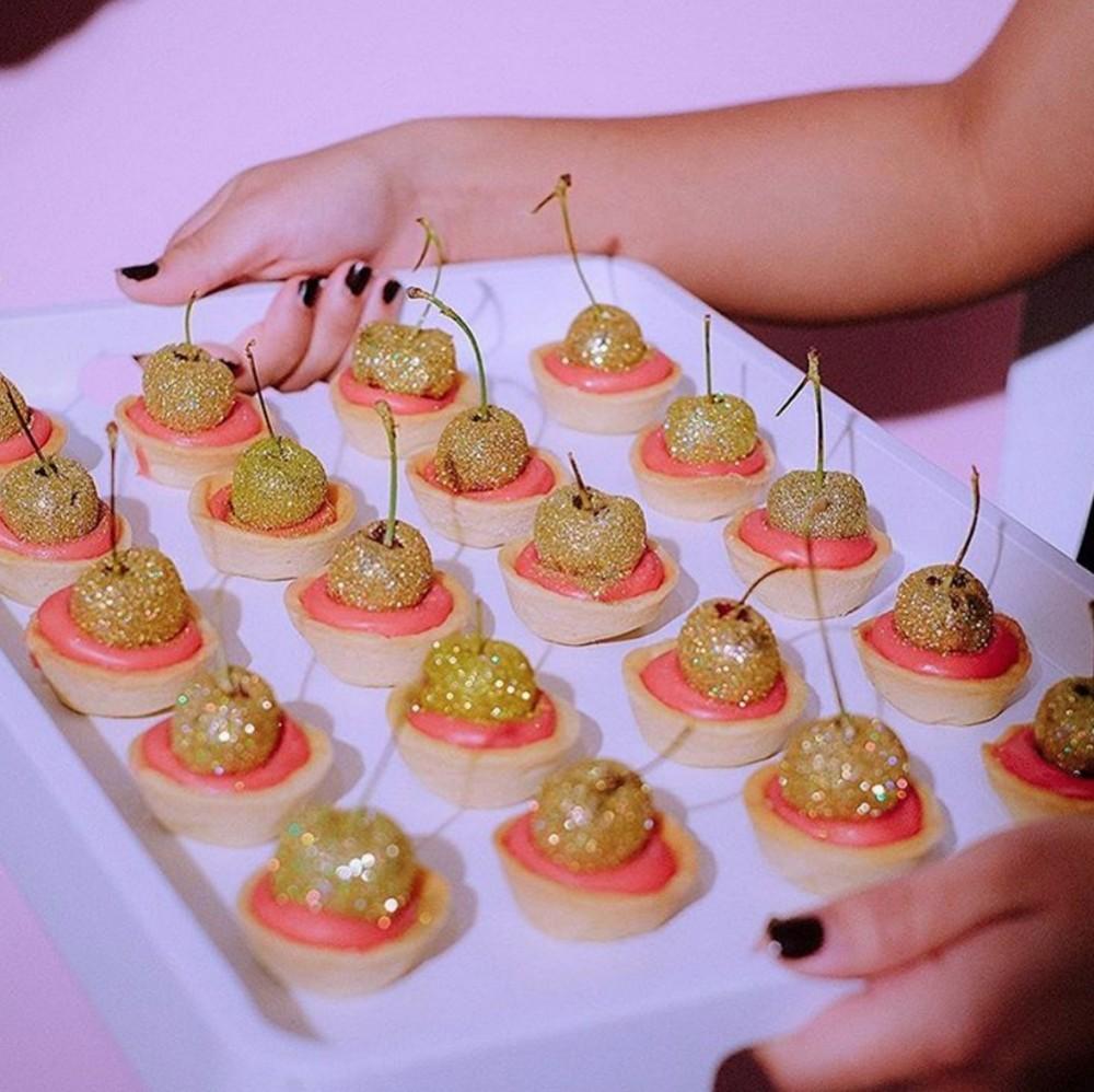 Glittering cherry tarts for Charlotte Simone