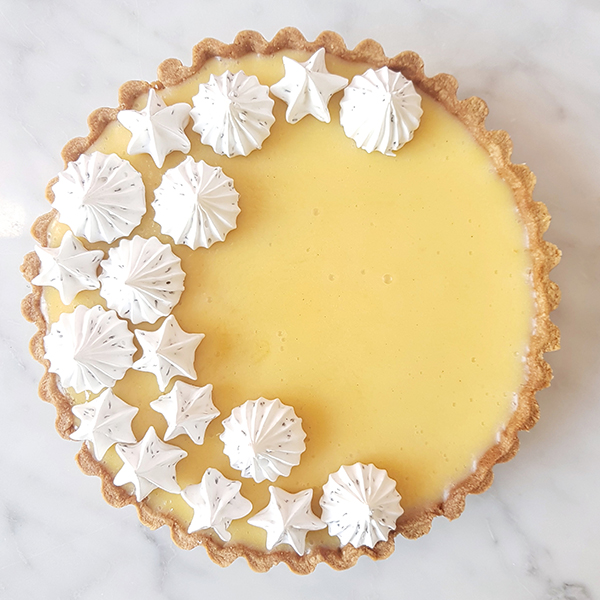 Yuzu Lemon Tart with Black Sesame Meringue