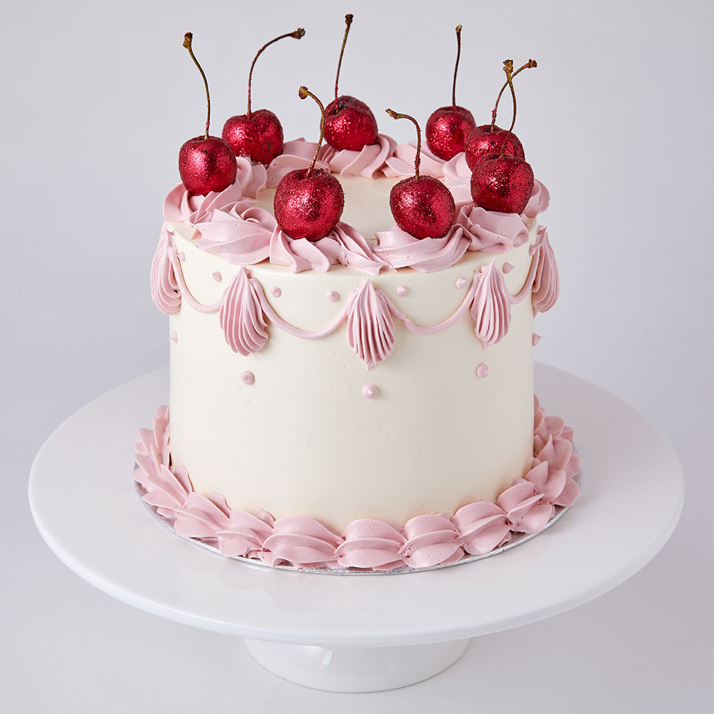 Sponge Cake with Glitter Cherries