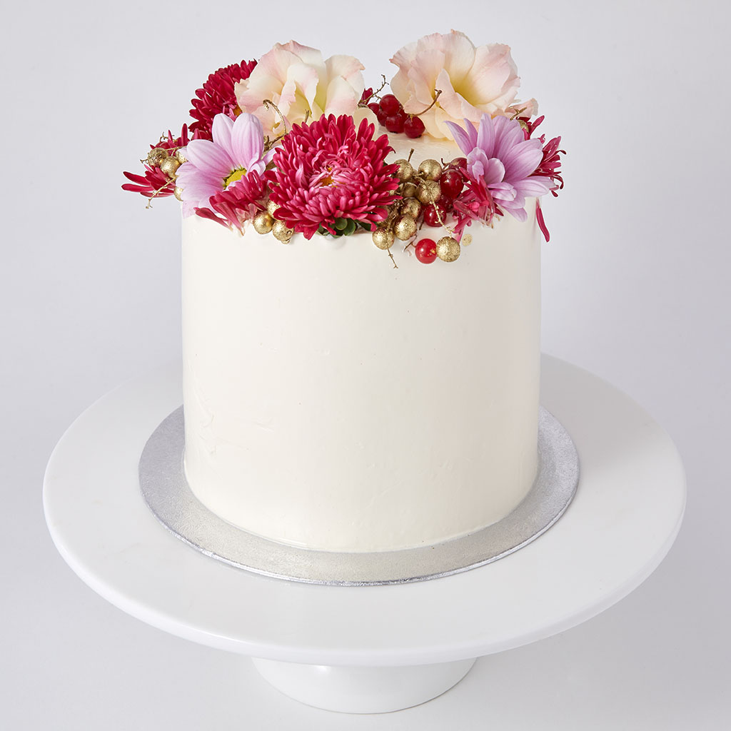 Party Cake with Fresh Flowers
