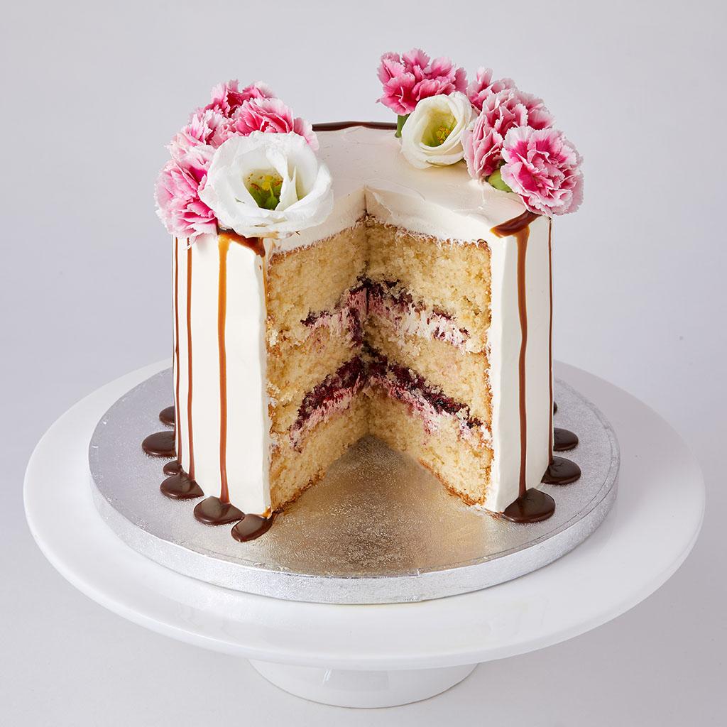 Pink Caramel Cake with Fresh Flowers | Lily Vanilli Bakery London