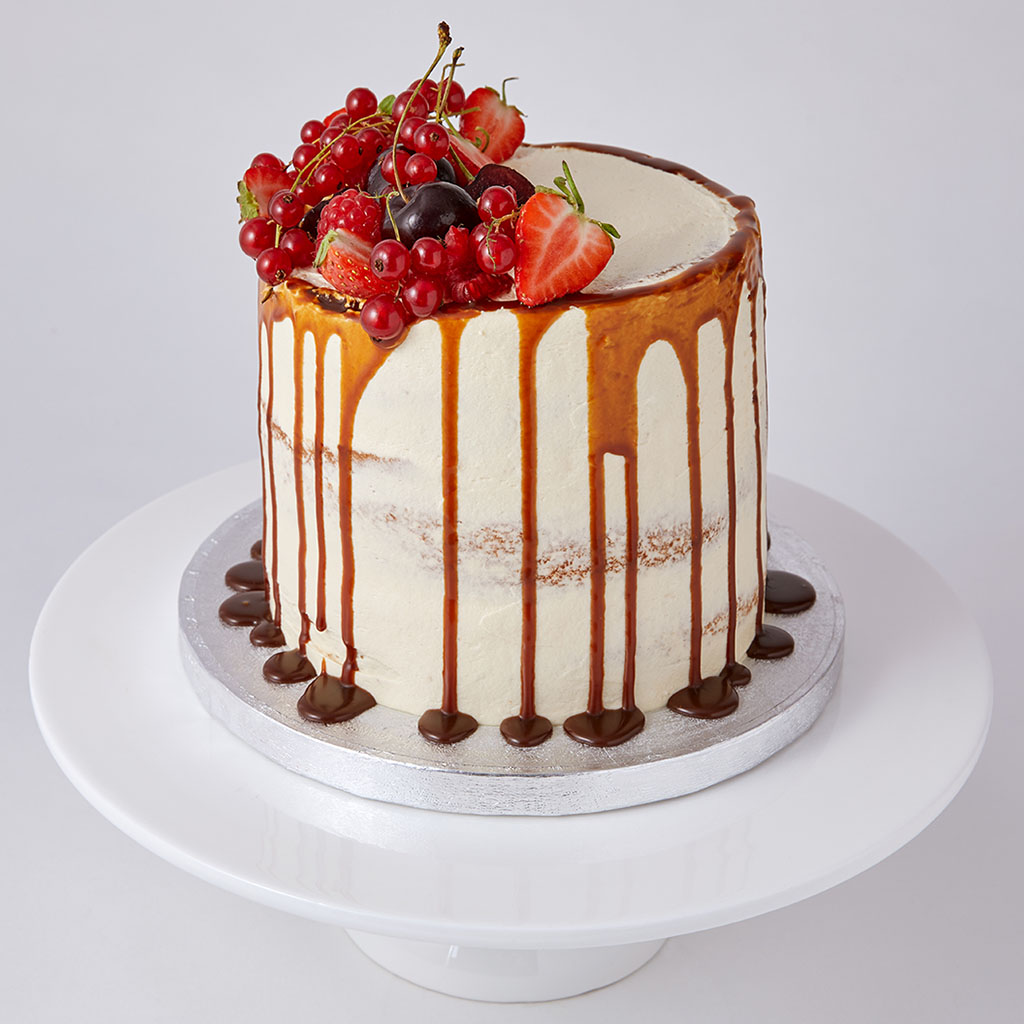 Semi Naked Cake with Caramel Drip