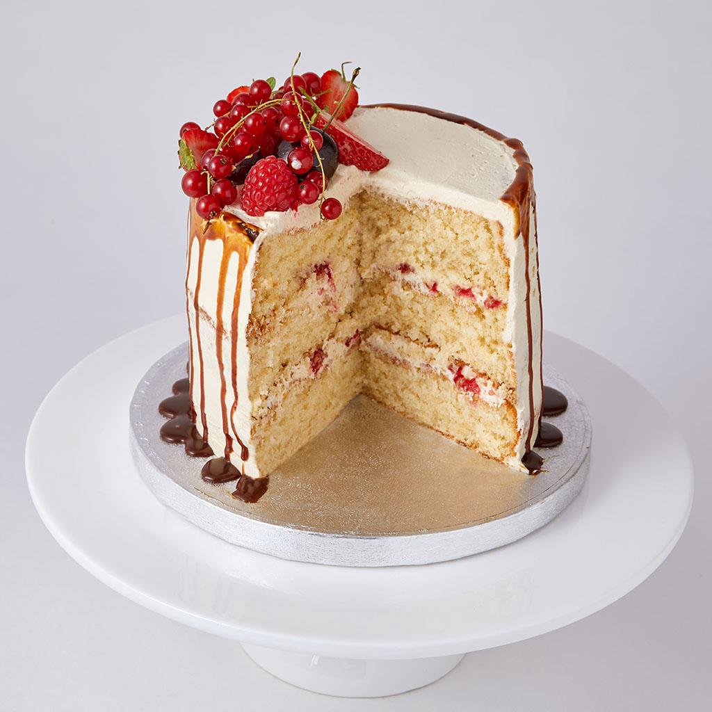 Semi Naked Cake with Caramel Drip | Lily Vanilli Bakery London