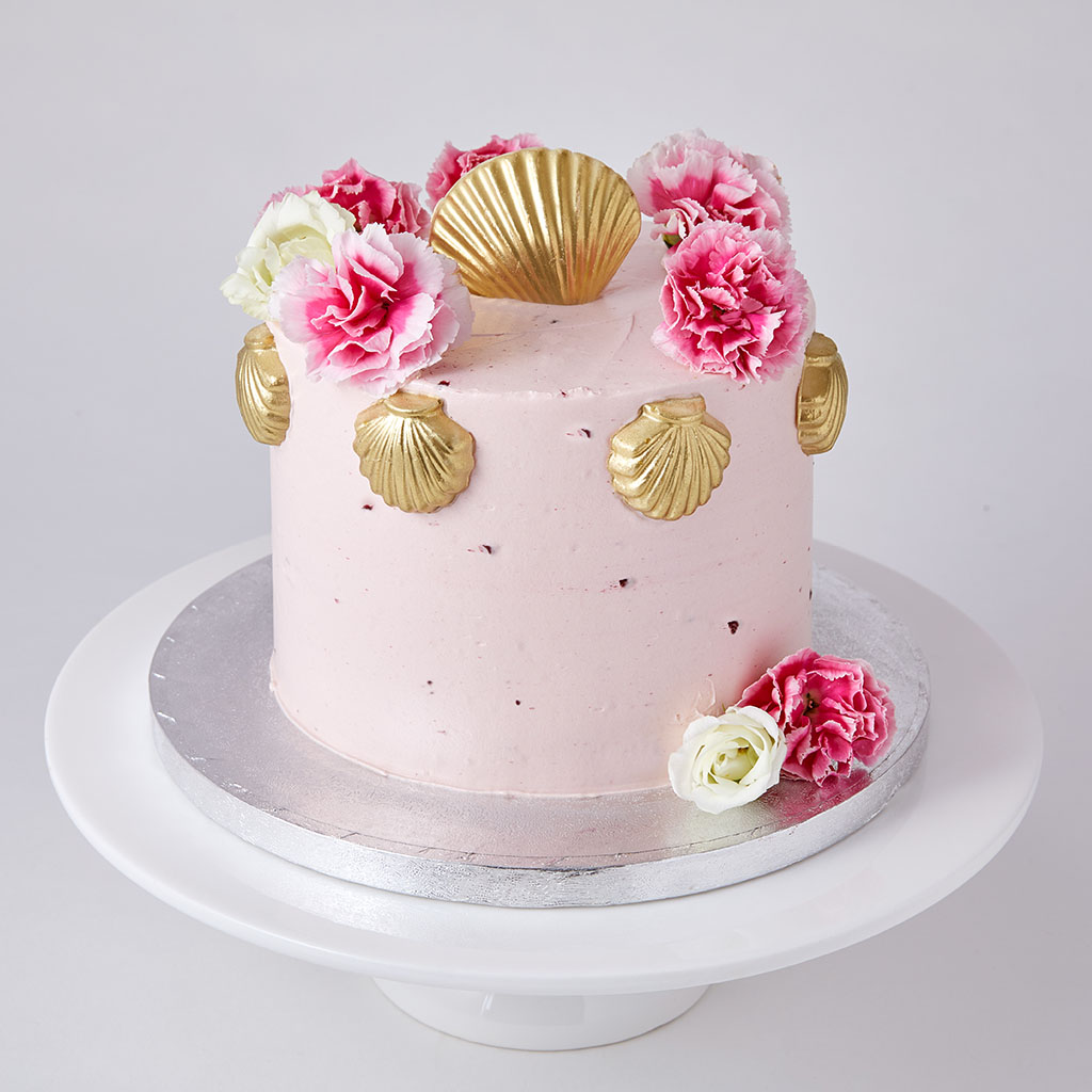 Sponge Cake with Chocolate Seashells
