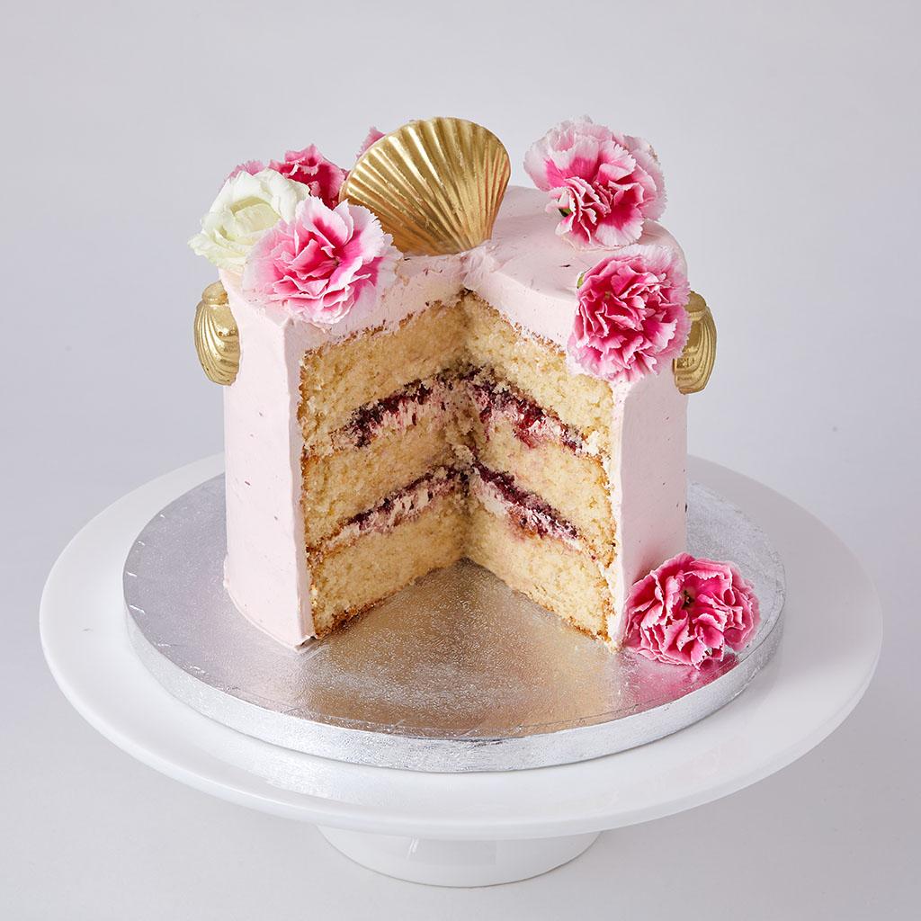 Vanilla Sponge Celebration Cake with Chocolate Seashells | Lily Vanilli Bakery London