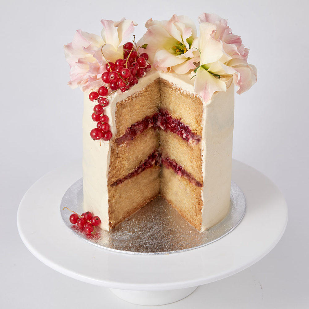 Vegan Sponge Cake with Fresh Flowers | Lily Vanilli Bakery London