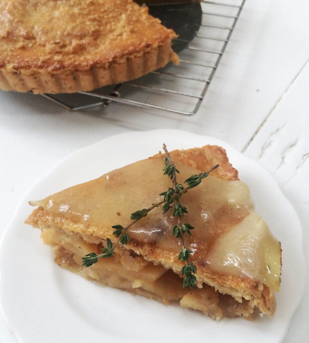 Quince Apple Pie with Star Anise, topped with a slice of melted 24 month aged Comté cheese
